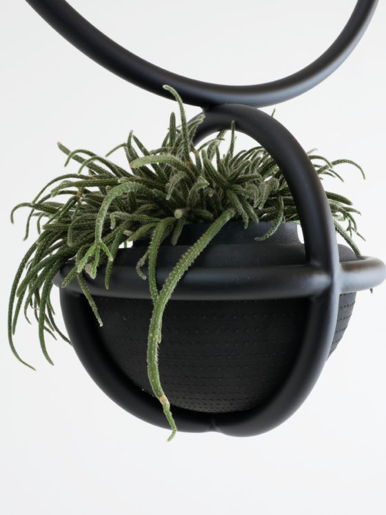 hanging plants basket. is made of Ø 22mm steel tube and includes a vase made of rubber. The Blumenampel is ceiling-mounted with a ceiling hook and a supplied rope.