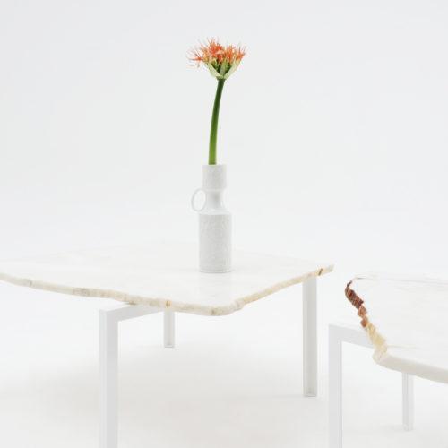 Petite Table d'angle Beistelltisch von Hervé Humbert für Atelier Haussmann Stein Nr.30,31 Unikate
