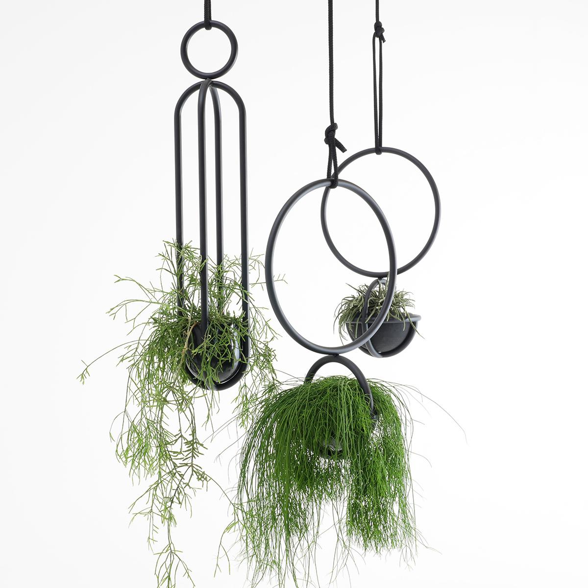 Blumenkugel and Blumenampel, hangingplants object from Zascho Petkow and Andreas Haussmann, vase from Birgit Severin