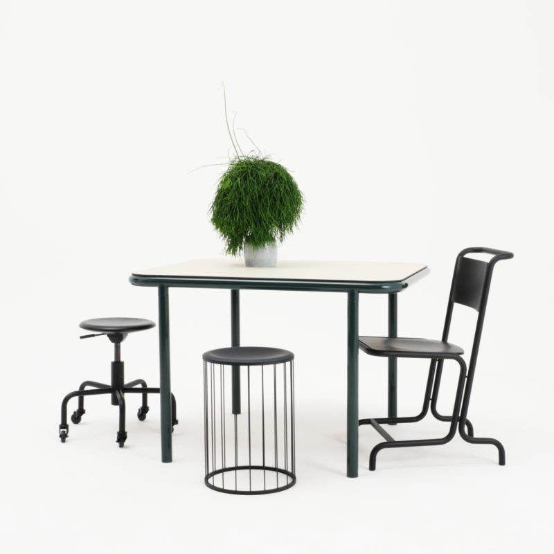 Bologna table, László chair, Spring stool