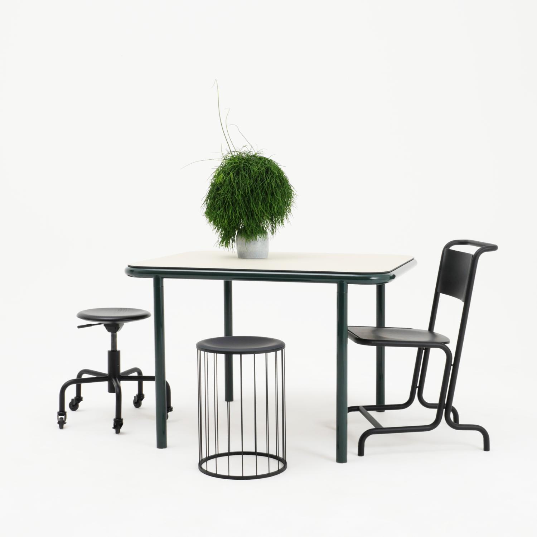 Bologna table, László chair, Spring stool