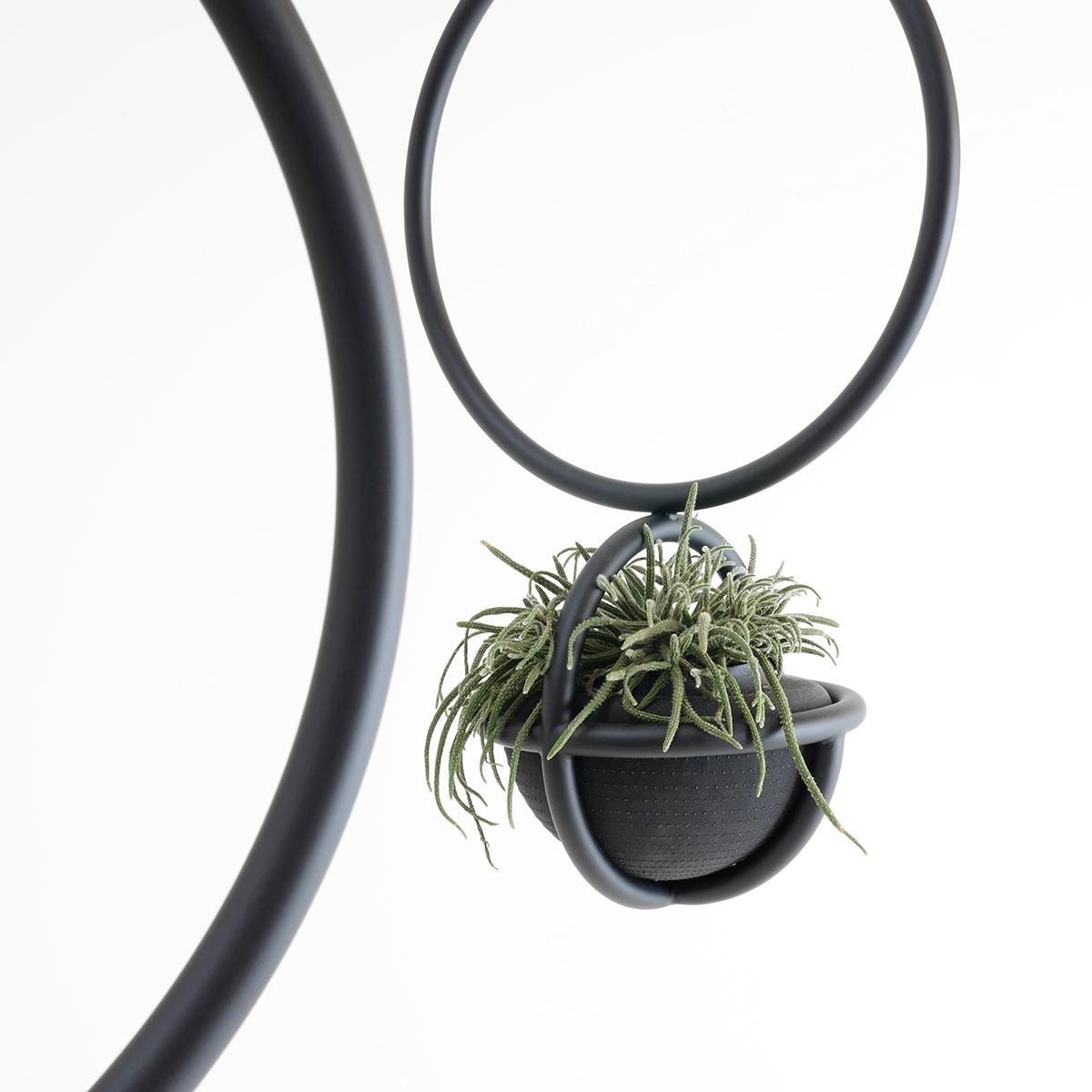 Blumenkugel ist wie die Blumenampel ein hängendes Raumobjekt für Blumen und Pflanzen. Von Zascho Petkow und Andreas Haussmann