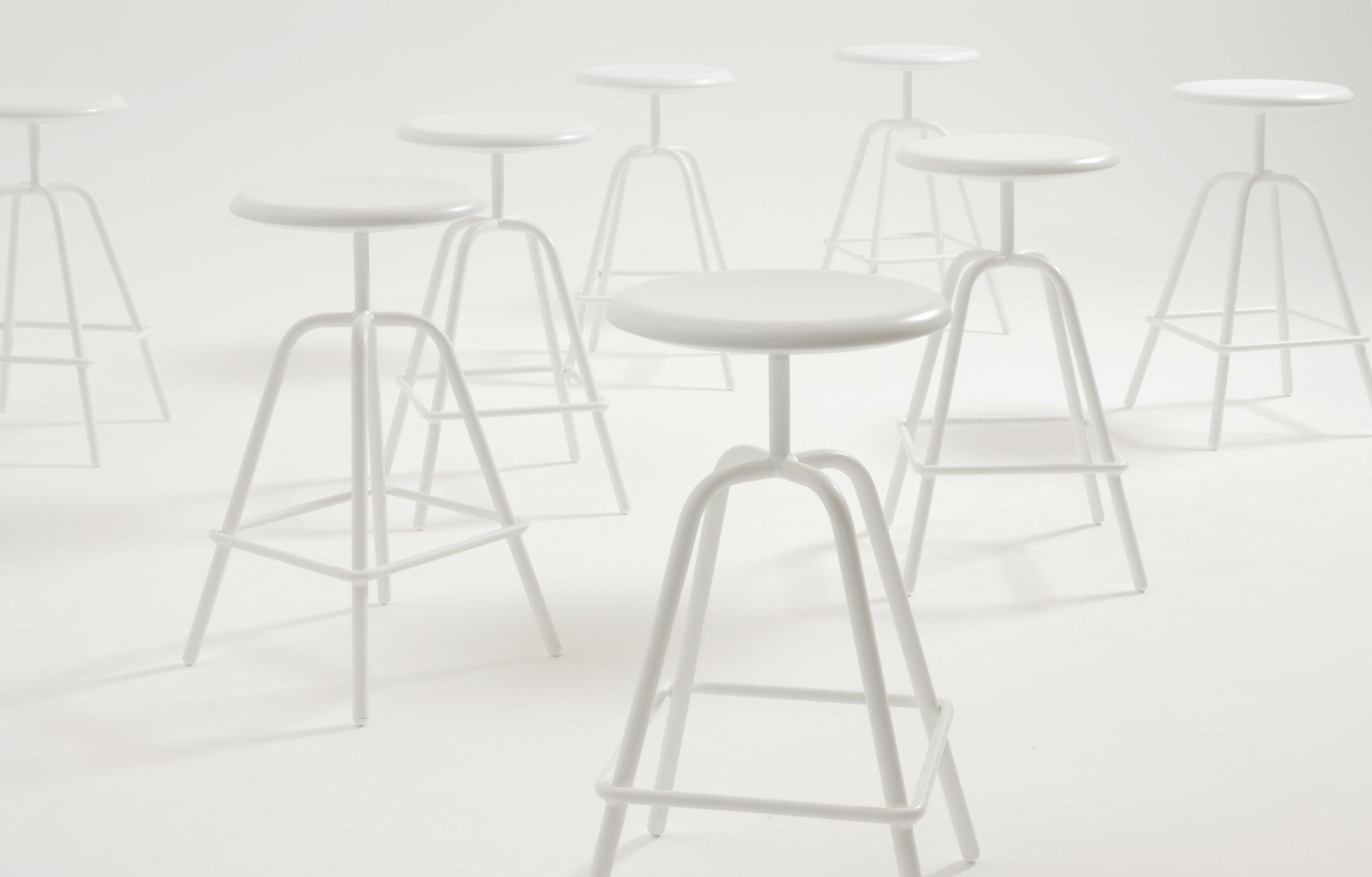 Herrenberger stool, wihte powder coated
