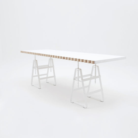 Lackaffe, hight adjustable trestles, white powder coated, table top wolken fron Zascho Petkow