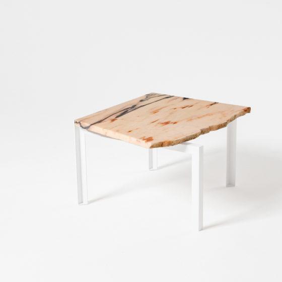 PETITE TABLE D'ANGLE von Hervé Humbert für Atelier Haussmann, Beistelltisch mit Marmor Reststück