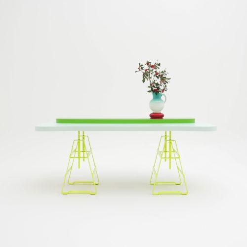 LACKAFFE ist ein Tischbock aus Eisen, höhenverstellbar und flexibel einsetzbar für unterschiedlichste Platten und Bretter.Pulverbeschichtet in Neonfarbe, Tischplatte von Zascho Petkow