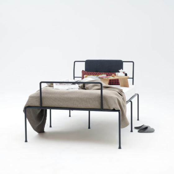 Sevenfeetup, bed with 7 legs, Bauhaus style