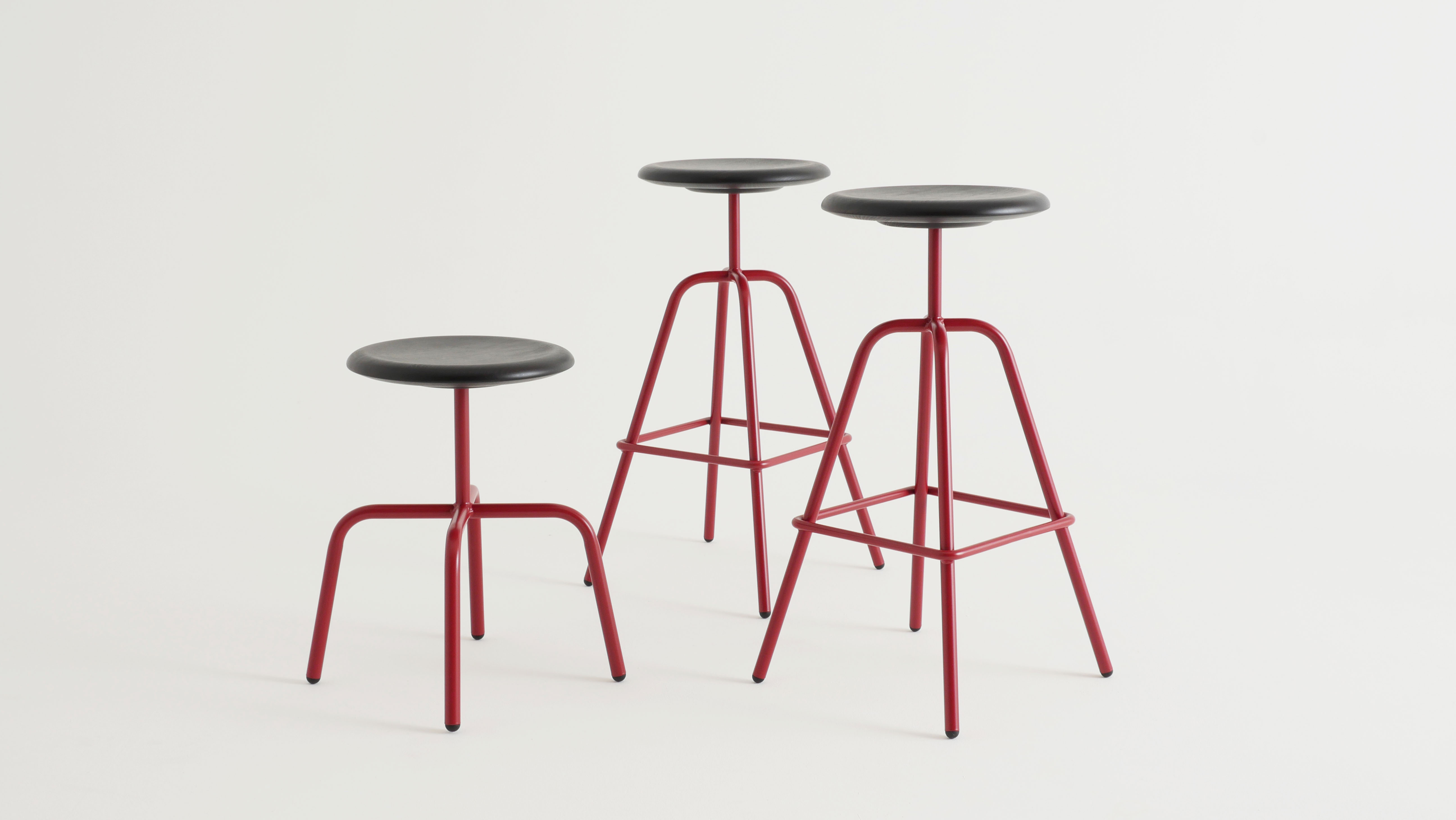 Herrenberger stool in three dimension, red powder coated for Viu store