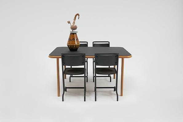 Bologna Tisch Stahlrohrramen Pulverbeschichtet, Linoleumplatte,