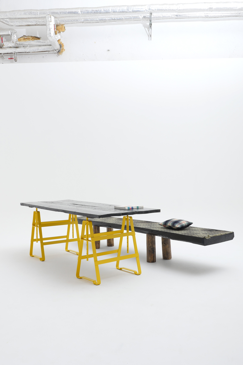 Lackaffe, trestle, yellow,