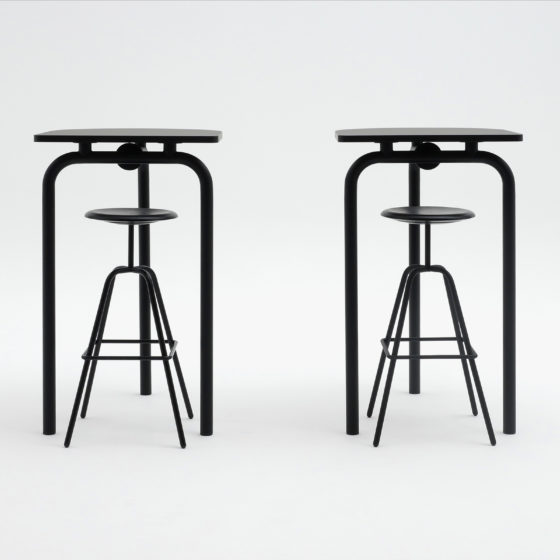 AtelierHaussmann-tables-Piombino Alto ensemble, with Herrenberger stools